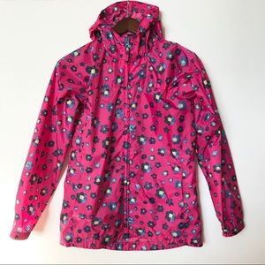 Land's End Girl's Raincoat Jacket Pink Flower Hood